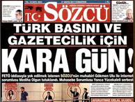 Sözcü gazetesinden tutuklamalara 'siyah' tepki...