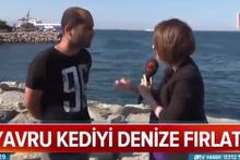 Yavru kediyi denize atarken muhabire yakalandı! Skandal savunma
