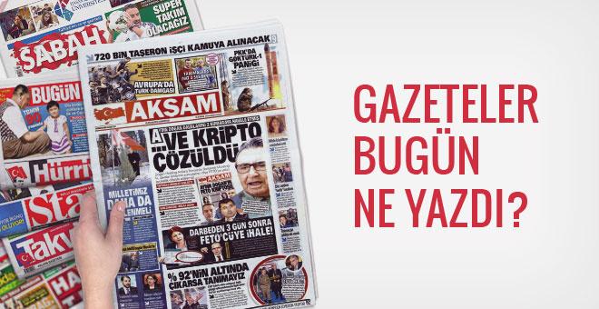 10 Aralık 2016 Cumartesi gazete manşetleri