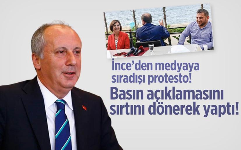 İnce'den medyaya protesto! Basın açıklamasını sırtını dönerek yaptı!