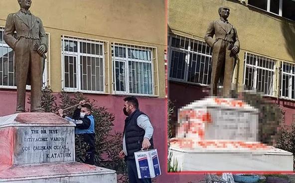 Tekirdağ'da Atatürk heykeline saldırı! İçişleri Bakanı Süleyman Soylu duyurdu provokatör yakalandı - Sayfa 4